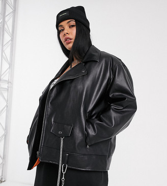 Collusion Plus oversized pu biker jacket in black