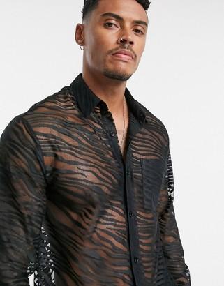Topman zebra lace shirt in black