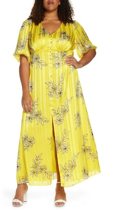 Maree Pour Toi Floral & Metallic Stripe Button Front Maxi Dress