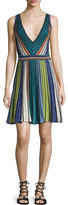 M Missoni Sleeveless Vertical-Striped Dress, Black