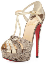 Christian Louboutin Glennalta Glitter T-Strap 150mm Red Sole Sandal, Brown