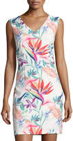 Neiman Marcus Floral-Print Sleeveless Sheath Dress, Multi