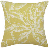 123 Creations Floral Printed Linen Pillow With Feather-Down Insert, Mustard