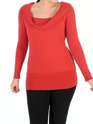 Chesca Studded Collar Jumper, Orange