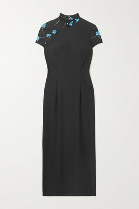 MARCIA Floral-print Stretch-jersey Midi Dress - Black