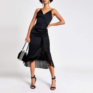 River Island Black fringe wrap satin slip midi dress