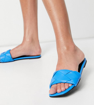 ASOS DESIGN Wide Fit Forty woven flat sandals in blue