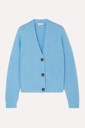 Ganni Ribbed-knit Cardigan - Blue