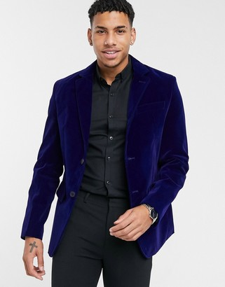 French Connection slim fit velvet blazer