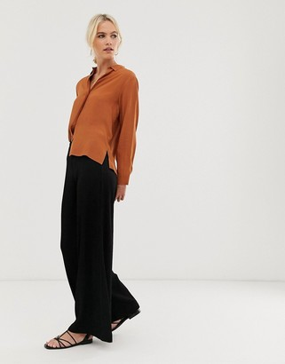And other stories & ribbed wide leg flare pants in black