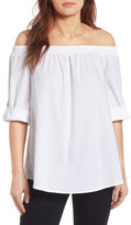 Bobeau Off-the-Shoulder Poplin Shirt (Petite)