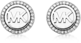 Michael Kors Logo Silvertone Stainless Steel Stud Earrings