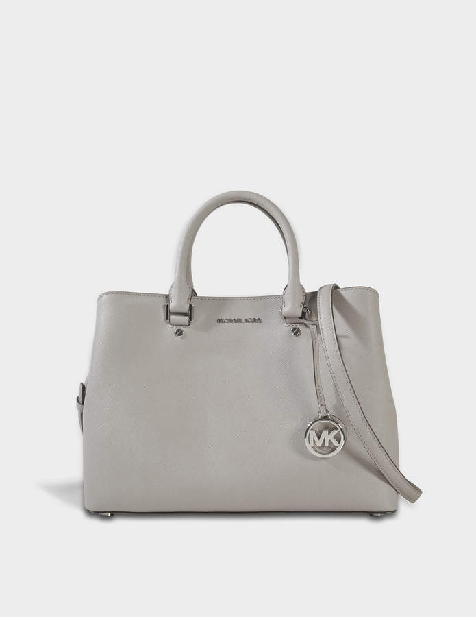 MICHAEL Michael Kors Savannah Large Satchel Bag in Pearl Grey Saffia Leather