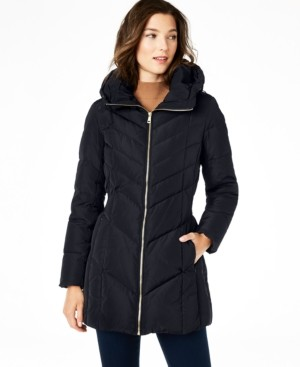 Cole Haan Hooded Chevron Down Puffer Coat, Created for Macy's