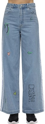 adidas Fiorucci Cotton Denim Wide Leg Jeans