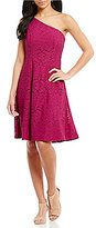 London Times Eyelet One Shoulder Fit-and-Flare Dress