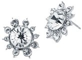Givenchy Rhodium-Tone Cluster Button Earrings