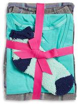 Hue Plaid-Accented Pajama Top, Pants and Socks Set