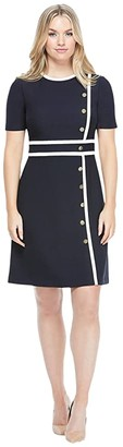 Maggy London Fit-and-Flare Dress with Button Detail (Soft White/Dark Navy) Women's Dress