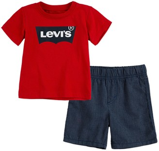 Levi's Levis Baby Boy 2-Piece Batwing T-Shirt & Pull-On Shorts Set