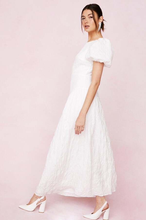 Thumbnail for your product : Nasty Gal Womens Bridal Crinkle Puff Sleeve Maxi Dress - White - 10