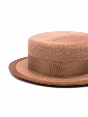 Ruslan Baginskiy Canotier pierced felted hat