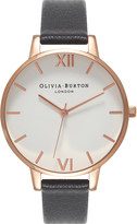 Olivia Burton OB16BDW09 rose gold-plated stainless steel and leather watch