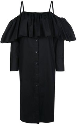 Delada Ruffled Shirt Midi Dress