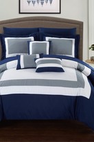 Dylan 10-Piece Complete Colorblock Bedding Collection - Navy