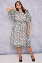 Yours Clothing SCARLETT & JO Grey Polka Dot Chiffon Midi Dress With Angel Sleeves
