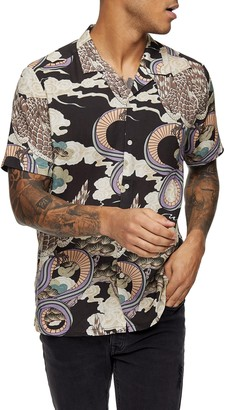 Topman Snake Print Short Sleeve Button-Up Shirt