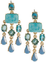 Carolee Gold-Tone Blue Stone Chandelier Earrings