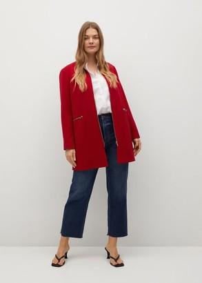 MANGO Zip straight-cut coat