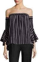 Milly Ines Striped Off-The-Shoulder Bell Sleeves Top