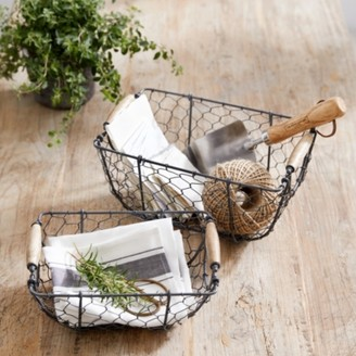 The White Company Wire Basket Set of 2, Grey, One Size