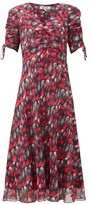 Diane von Furstenberg Eleanora Gathered Silk-chiffon Midi Dress - Womens - Red Multi
