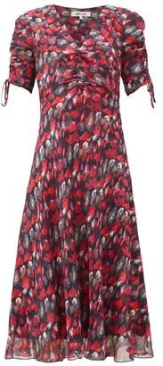Diane von Furstenberg Eleanora Gathered Silk-chiffon Midi Dress - Red Multi