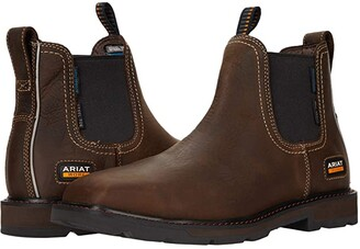 Ariat Groundbreaker Chelsea Wide Square Toe Waterproof Steel Toe (Dark Brown) Men's Boots