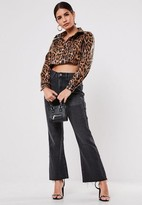 Missguided Petite Brown Faux Leather Leopard Print Cropped Jacket