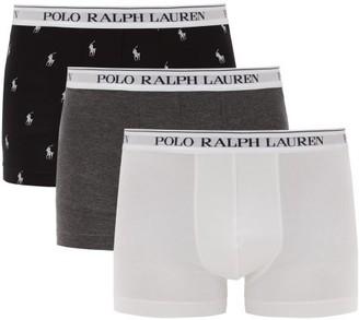 Polo Ralph Lauren Pack Of Three Logo-print Cotton-blend Boxer Shorts - Grey Multi