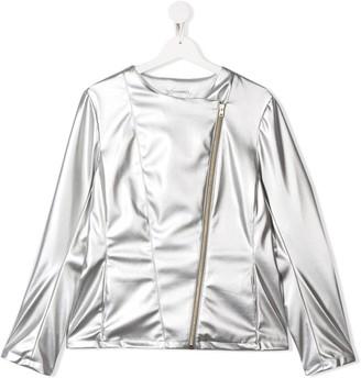 Herno TEEN metallic-print zipped jacket