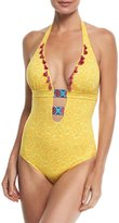 OndadeMar Limoncello Printed Halter One-Piece Swimsuit w/ Embroidery