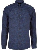 River Island MensBlue camo jacquard smart slim fit shirt