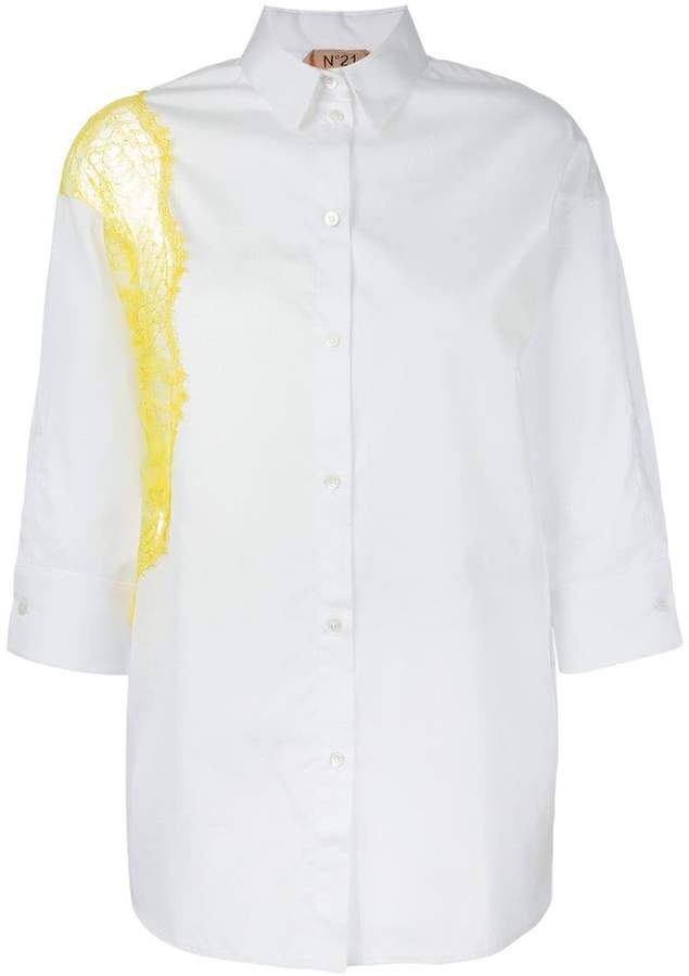 No.21 lace panel oversized shirt