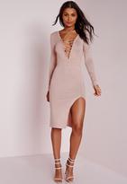 Missguided Lace Up Knit Midi Dress Mauve
