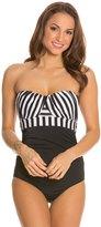 Jantzen Harbour Beauty Stripe Wrap Up Bandeau One Piece Swimsuit 8123651