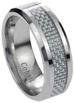 Journee Collection Daxx Men's Cobalt Gray Carbon Fiber Inlay Band