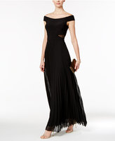 Xscape Evenings Off-The-Shoulder Illusion Cutout Gown