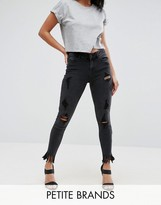 New Look Petite Busted Knee Fringe Skinny Jeans