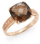 Effy Smoky Quartz, Diamond & 14K Rose Gold Ring